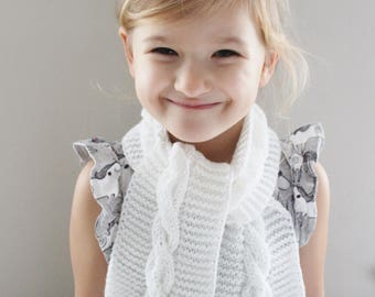 Girl Scarf - White Scarf - Children's scarf - Children's knitted scarf  -Ready to ship - 2-4 yrs
