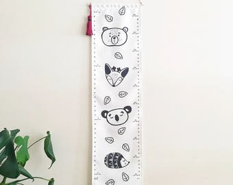 Fabric growth chart - Personalized - Kids wall hanging height chart - Removable - Canvas - Woodland Animals Echidna Hedgehog Koala Deer