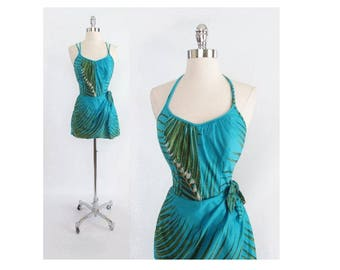 R E S E R V E D  Vintage 50's Style 60's  Tropical Hawaiian Palm Leaves Sarong Skirt Playsuit Swimsuit