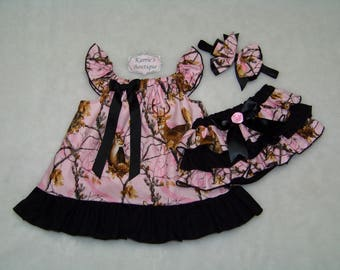 Camo Deer Dress Outfit / Pink Realtree + Black / Ruffle Dress / Bloomers / Pageant / Wedding / Flower Girl / Infant / Baby / Girl / Toddler