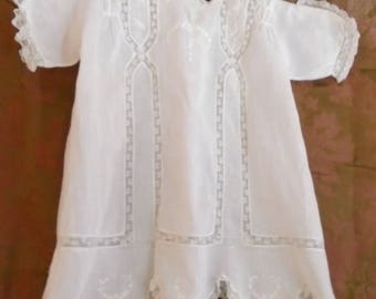 Vintage 1920s Baby Dress White Cotton Embroidery and Lace Scalloped Hem