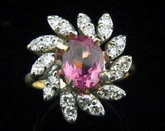 GORGEOUS Vintage Pink Tourmaline Diamonds 14k Gold Ring Estate Floral Cocktail