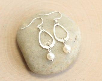 Sterling Silver Freshwater Pearl Teardrop Dangle Earrings