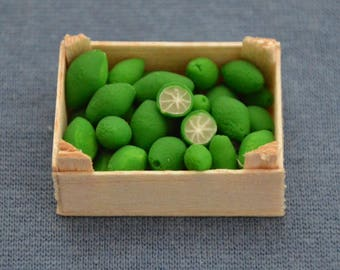 Dollhouse Miniature Food - One Inch Scale Limes - In Crate - Removable