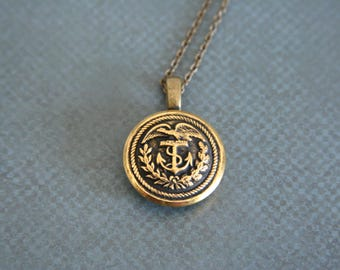 US Coast Guard Necklace Eagle Pendant Available in Antique patina or bright brass - made with a military button