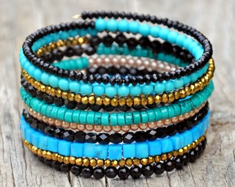 Black, Turquoise & Gold Sparkle Boho Wrap Bracelet
