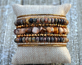 Natural Brown Stone & Metallic Beaded Cuff , Cuff Bracelet
