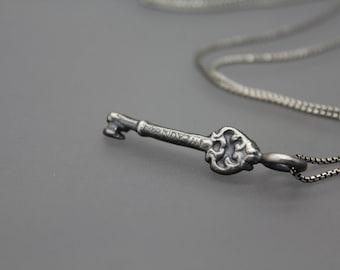 Personalized Key Necklace, Key Jewelry, Silver Key, Name Necklace, Name Jewelry, Engraved Key, Skeleton Key, Lock and Key, Couple Jewelry