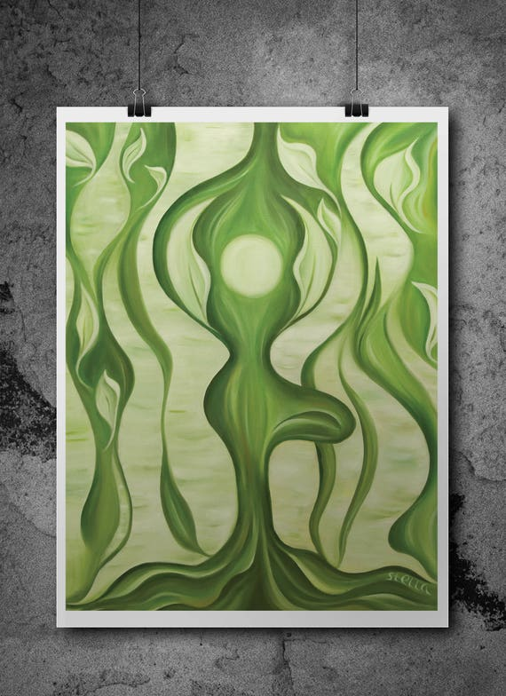 Yoga Art  TREE - fine art giclee from original oil painting, yoga wall decor
