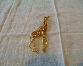 vintage topaz crystal giraffe brooch
