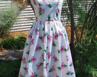 1950's Anne Fogarty Cotton Rose Print Dress