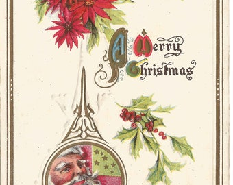 Santa in Tear Drop Shaped Ornament and Poinsettia with Holly Leaves in Holly Berries Vintage Postcard Christmas Greetings