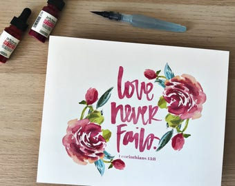 Love Never Fails Scripture Print - 1 Corinthians 13 - Brushlettered watercolor