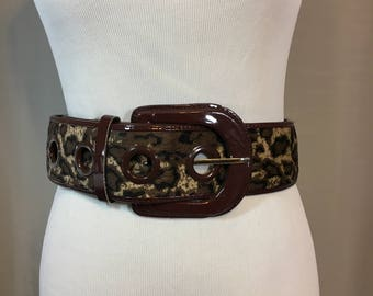 Vintage Wide Brown Leopard Print Belt with Faux Brown Patent Leather Trim 2 & 5/8 Inches Wide 41.25 Inches Long, Brown Animal Print Belt