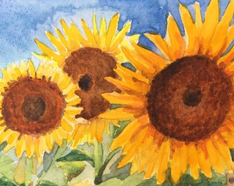 Original Watercolor Painting Sunflowers Floral Painting Landscape Painting Outdoor Wall Art Garden Landscape Watercolor Wildflower Art