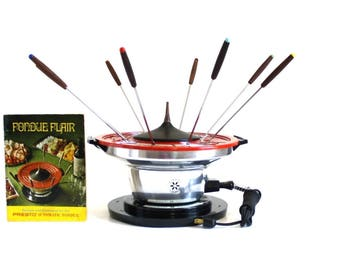 Presto Electric Fondue Pot Red, Complete Set, 1970s Small Kitchen Appliances