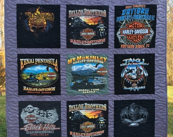 Personalized TShirt Quilt DEPOSIT, TShirt Quilt, 9 Shirt Quilt, Traditional Block Style, FREE SHIPPING,  Cool Quilts