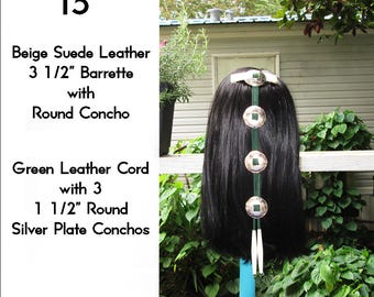 Beige & Green Leather Cascading Silver Concho Hair Barrette 15""