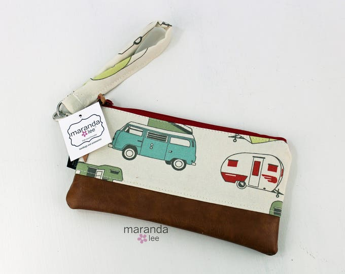 Flat Clutch - Vintage Campers Red READY to SHIp