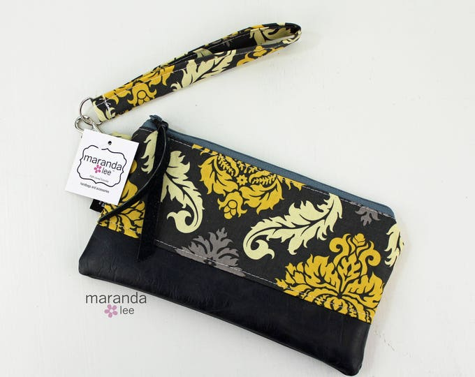 Flat Clutch - Damask with Gray PU Leather READY to SHIp