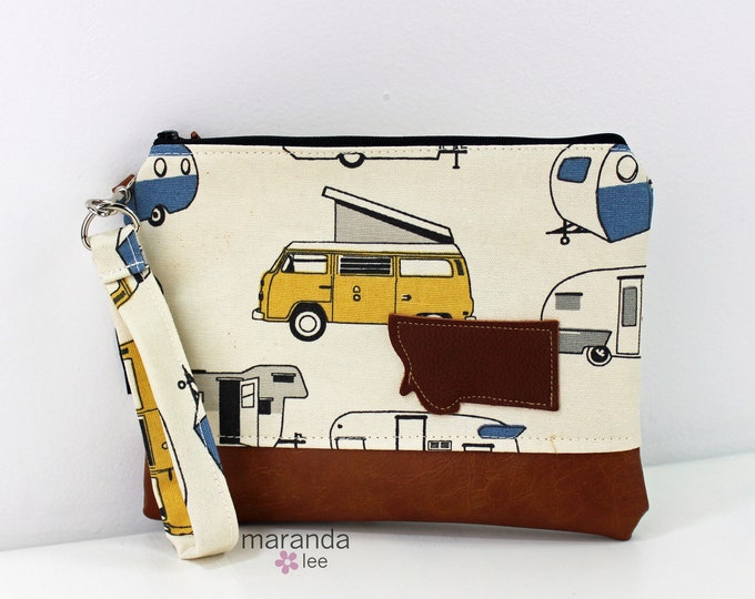 Flat Clutch Large- RV Blue with Montana Patch and PU Leather READY to SHIp