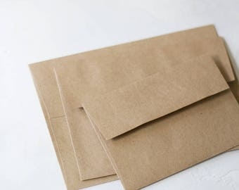 Brown Kraft Envelopes - Square Flap - 25 pc - A1 4 Bar / A2 / A6 / A7 / No. 10 Regular / No. 10 Open End