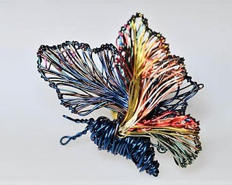 Butterfly brooch, cute pin, blue gold, insect, colorful, everyday, wire jewelry, jacket pin, New years, birthday gift for her, modern hippie