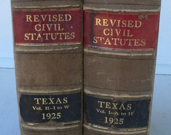 vintage law books, Texas Revised Civil Statues, 1925, photo props, stage set from Diz Has Neat Stuff