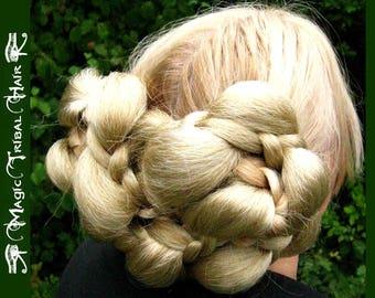 UPDO HAIR PIECE Renaissance hairdo wig Braided chignon Medieval hair bun Reenactment Larp braid extensions Tribal Fusion Belly Dance braids
