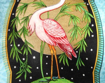 Incredible Antique Pink Flamingo Art Deco Textile Fabric Label