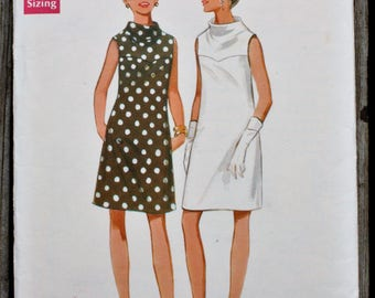 Butterick 4825 1960s 60s Mod A line Funnel Neck Dress with Yoke MCM Vintage Sewing Pattern Size 10 bust 32.5