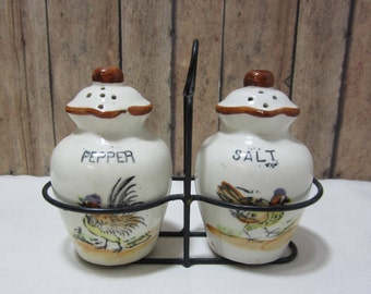 Vintage Salt and Pepper Shakers, Jugs with Handle, Metal Carrier, Cork Stopper,1950s,  Hand painted Roosters