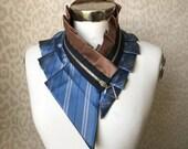 Collier cordon soie, collier foulard en soie, col en soie, collier femme, collier plastron, burning man, vêtements, accessoires pour femmes #239