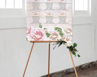 Reception Seating Chart, Wedding Reception Sign, Day Of Stationery - Rustic/Old Barn Board (Style 0008)
