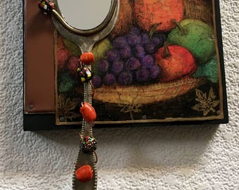 Still Life Fruit copper assemblage mirror,upcycled,cabin decor,eclectic,one of a kind,recycled art,salvage,outsider art,boho,unique decor