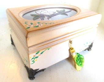 Vintage Upcycled Jewelry Box Cream Flowers Tassel Handmade 80's (item 5)