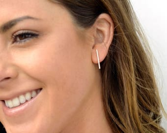 Sterling Silver Bar Earrings, Everyday Bar Stud Earrings, Silver Post Earrings, Sterling Silver Stud Earrings