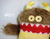 Mini Cuddle Monster pillow; Brown Pillow Monster; pajama eater pillow; bedtime buddy; nightmare eater; Yellow-belly Cuddle Monster