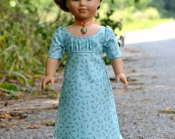 Doll Dress Regency Day Dress for American Girl 18 inch doll Caroline Josephina Blue