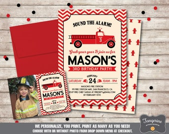Firetruck Birthday Invitation, Firefighter Birthday, Fireman Birthday, Fire Truck Birthday, Boy Birthday, Printable Invitation