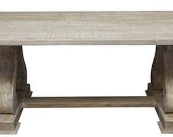 Serpentine Leg Trestle Dining Table