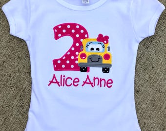 Girly Bus Birthday Shirt