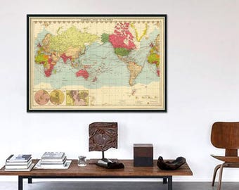 World map poster - Old  map of the world - Wall map  print - Color lithographed map