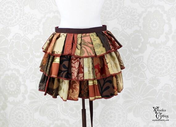 """Steampunk Ruffle Bustle Top Skirt - 3 Layer, Sz. L - Russet, Brown, & Gold Patchwork - Fits 33""""-65"""" Waist or Upper Hip"""