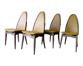 Mid Century Modern FOLDING DINING CHAIRS by Stakmore, Set/4