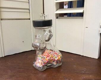 Vintage Glass Dog Candy Jar