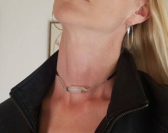 Love Spell: Silver Dipped Rose Quartz Pendant Choker Black Suede Leather & Chain