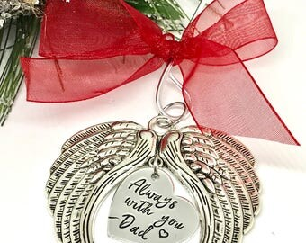 Angel Wing Memorial Ornament - Christmas Gifts for Grieving - Sympathy Gift Ideas - Rememberance Ornaments - Memorial Gifts - Personalized