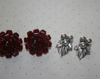 Two 2 Pair of Vintage Earrings Clip On Silver Tone Berry Berries and Leaf Leaves, Ruby Red Beads Crystals Silver Tone