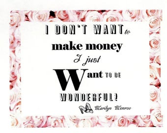"""CIJ Sale Marilyn Monroe Fridge Magnet """"I Just Want to be Wonderful"""" Marilyn Monroe Quote, Hollywood Gift For Her MG-1202"""